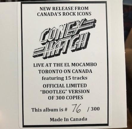CONEY HATCH - Live At The El Mocambo (limited edition, digi card)
